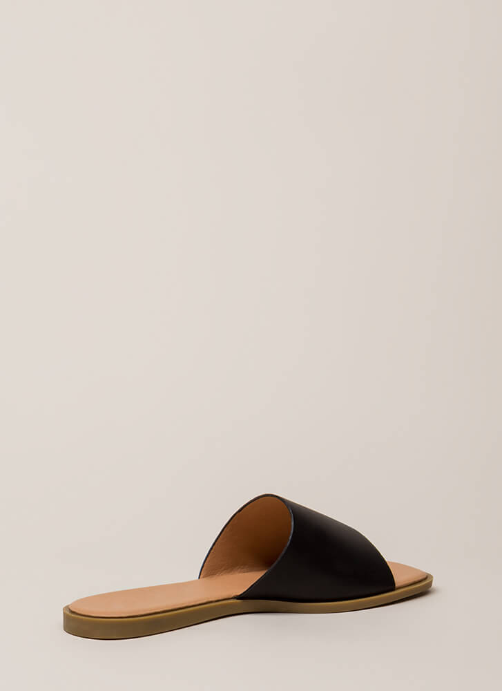 That's Easy Faux Leather Slide Sandals BLACK