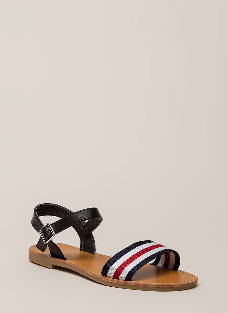 Cruise Control Sporty Striped Sandals BLACK
