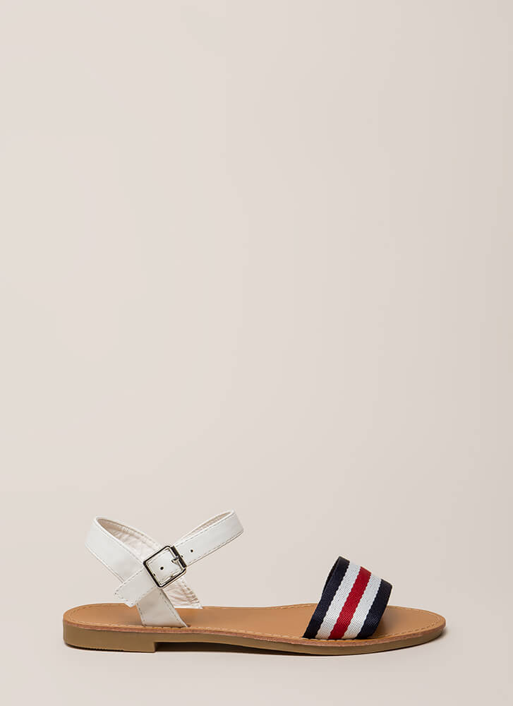 Cruise Control Sporty Striped Sandals WHITE