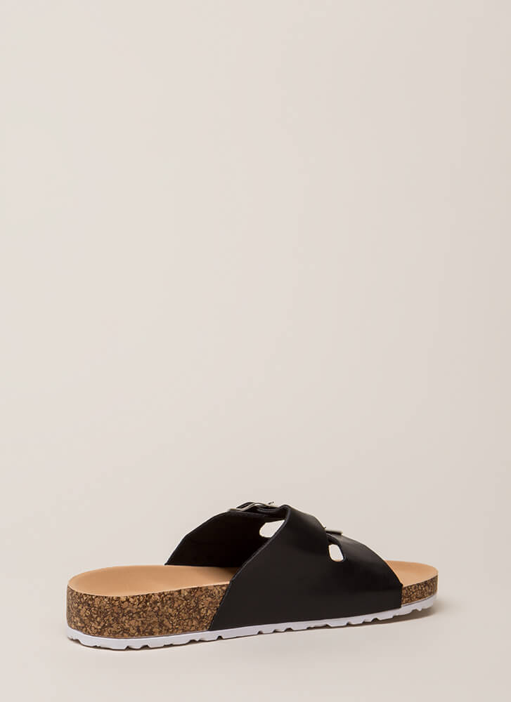 Go Ahead Platform Slide Sandals BLACK