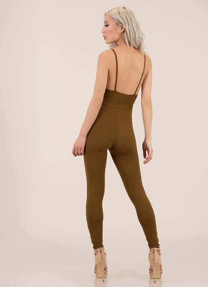 I'm Coming Out Plunging Tied Jumpsuit BROWN