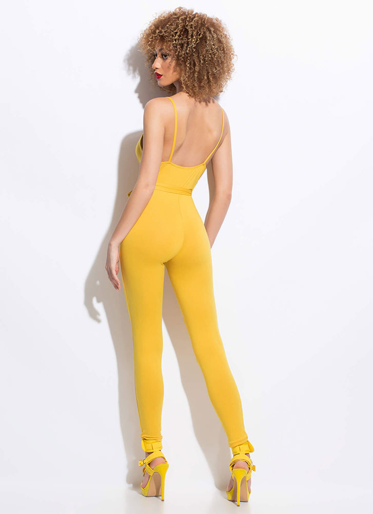 I'm Coming Out Plunging Tied Jumpsuit MUSTARD