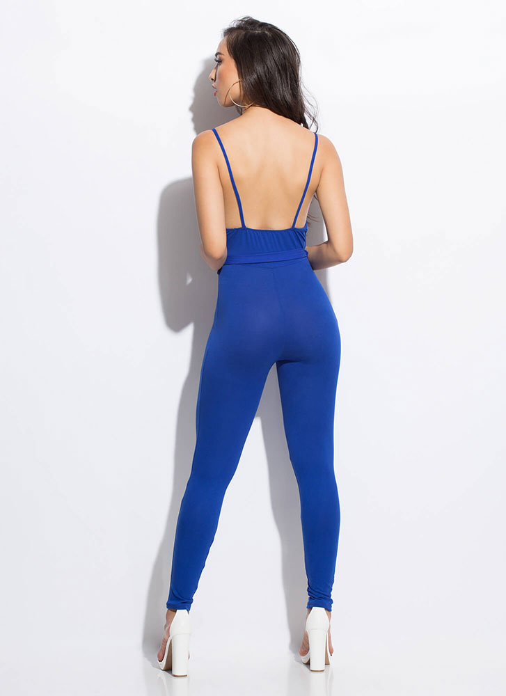 I'm Coming Out Plunging Tied Jumpsuit ROYAL