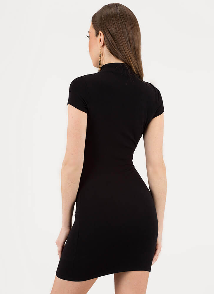 Simply You High-Neck Minidress BLACK