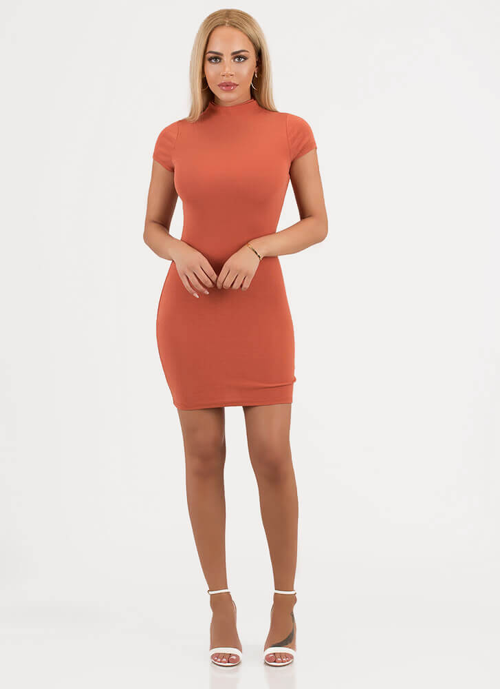 Simply You High-Neck Minidress RUST