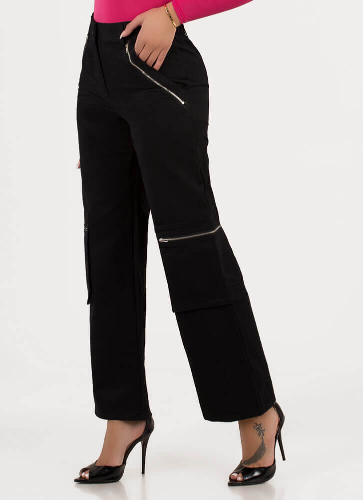 Zip Your Lip Wide-Leg Cargo Pants BLACK