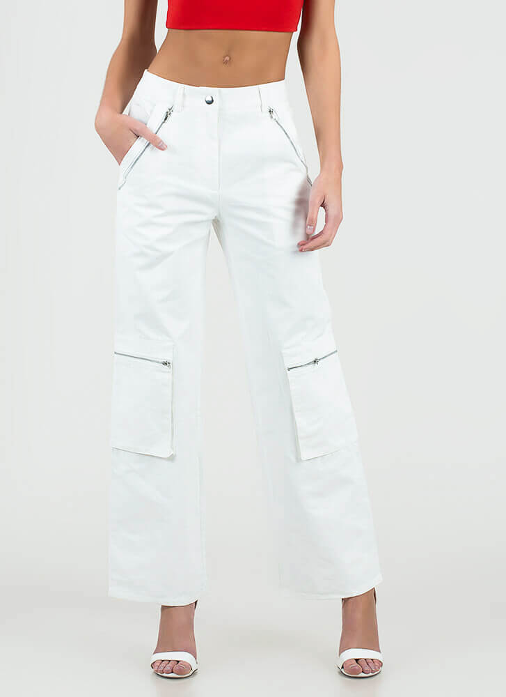 Zip Your Lip Wide-Leg Cargo Pants WHITE
