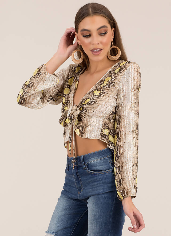 Snake It Off Cropped Tie-Front Blouse MUSTARD