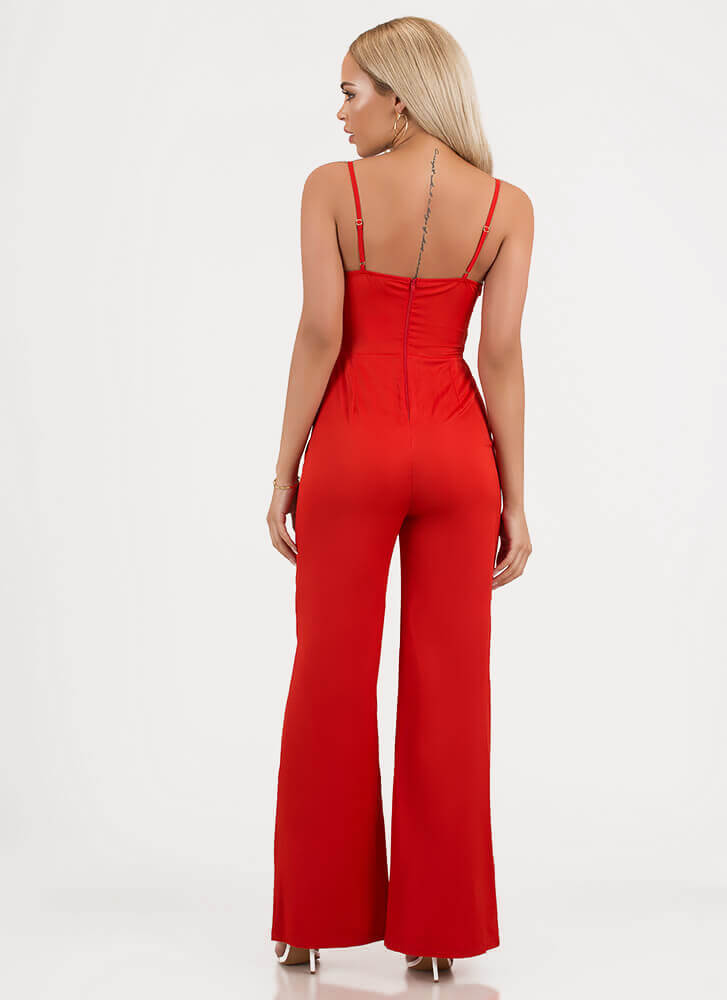 Bow-tiful Girl Tied Palazzo Jumpsuit RED