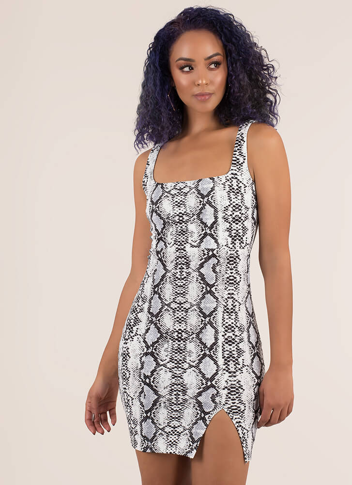 Snake Charmer Square-Neck Minidress BLACKWHITE