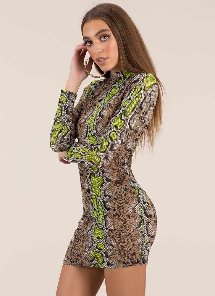 Sexy Slither Snake Print Mesh Minidress LIME
