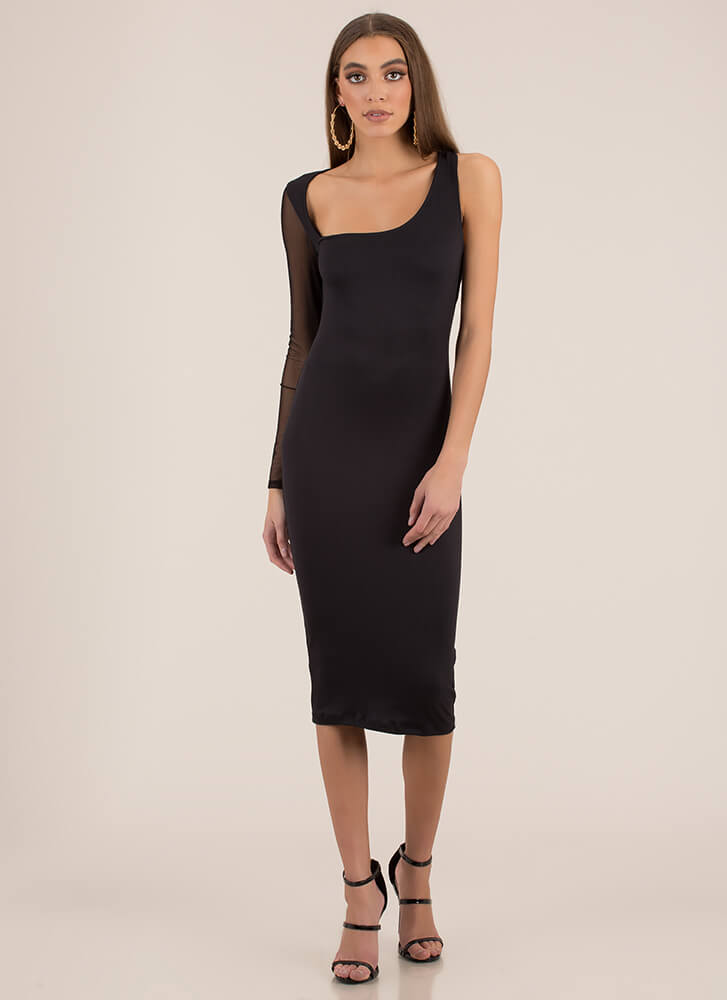 It's Art Asymmetrical Mesh Sleeve Dress BLACK