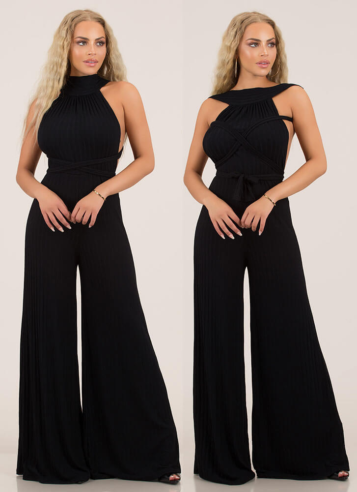 Up To You Multi-Way Palazzo Jumpsuit BLACK