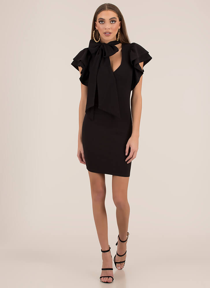 The Bow And The Beautiful Ruffled Dress BLACK