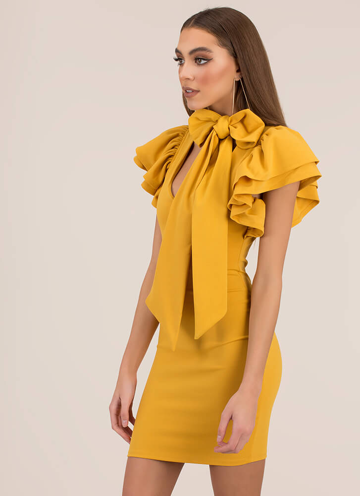 The Bow And The Beautiful Ruffled Dress MUSTARD
