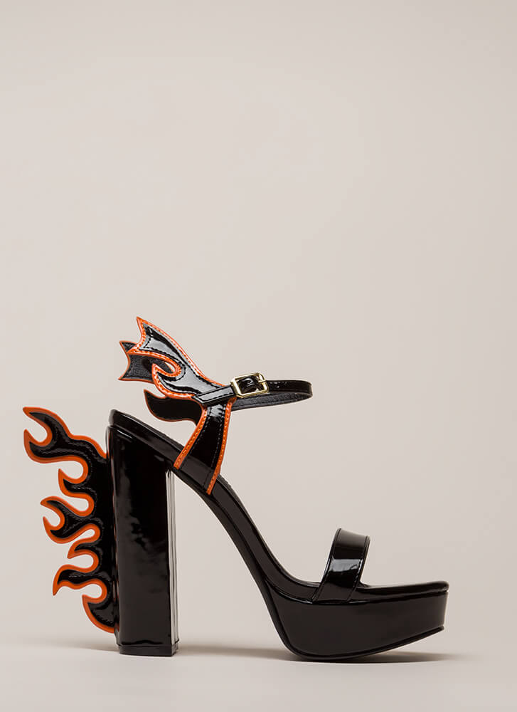 Flaming Hot Chunky Platform Heels BLACK