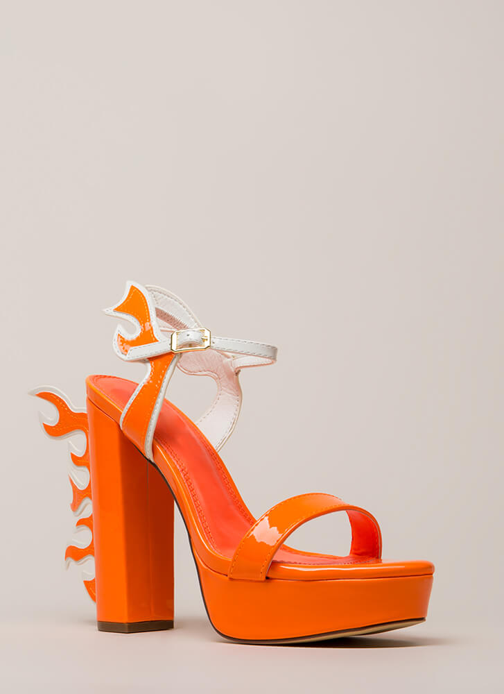 Flaming Hot Chunky Platform Heels ORANGE