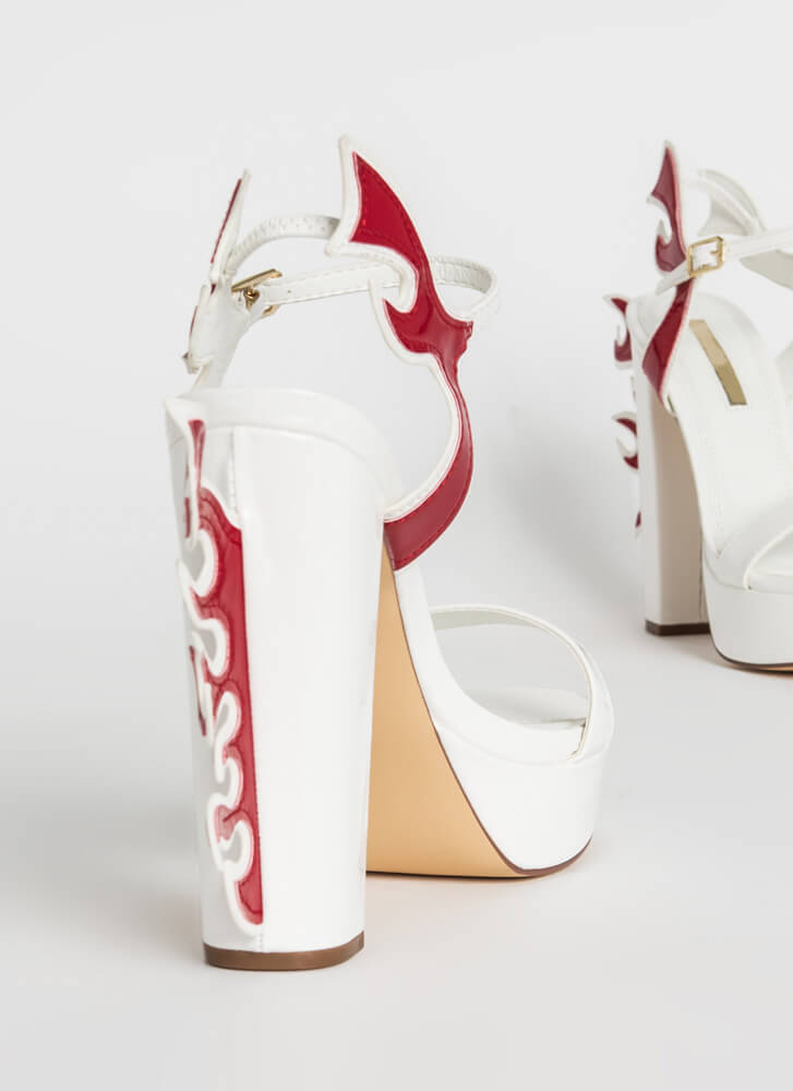 Flaming Hot Chunky Platform Heels WHITE