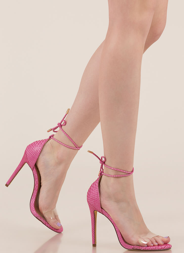 Clearly Reptilian Scaled Lace-Up Heels PINK