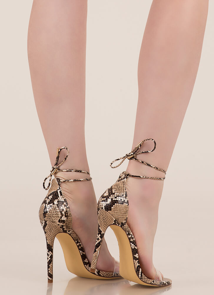 Clearly Reptilian Scaled Lace-Up Heels SNAKE