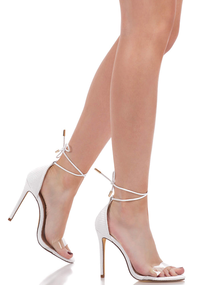 Clearly Reptilian Scaled Lace-Up Heels WHITE