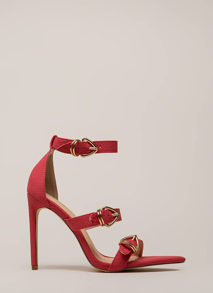 Ravishing Reptilian Strappy Scaled Heels RED