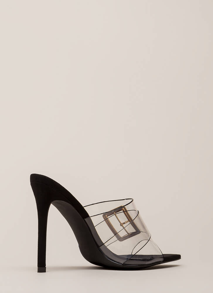 Clear Out Buckled Peep-Toe Mule Heels BLACK