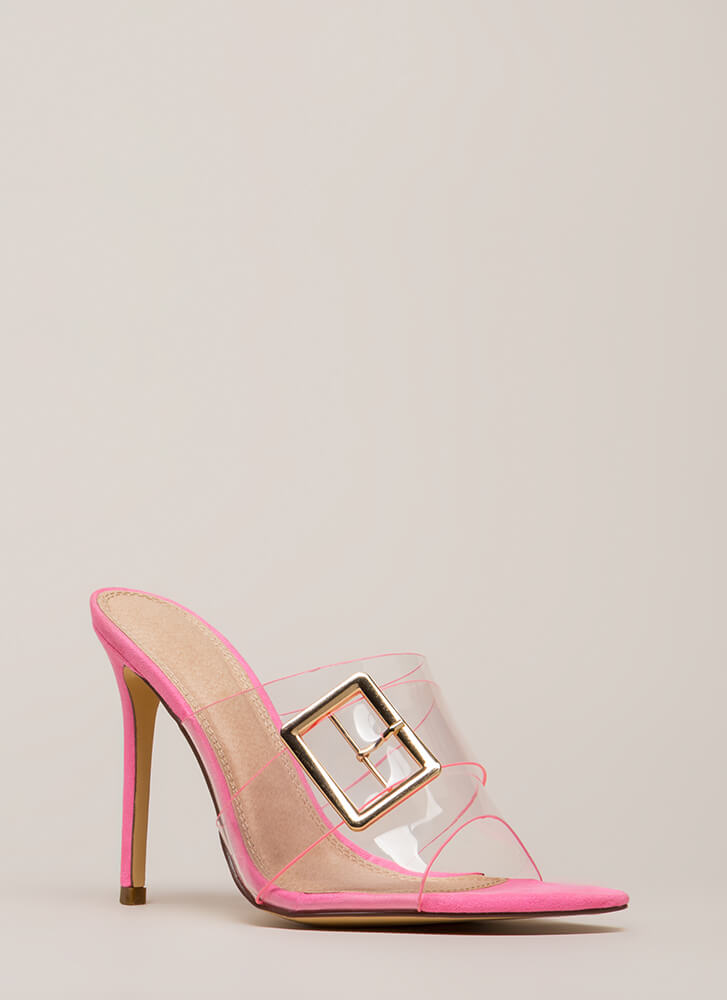 Clear Out Buckled Peep-Toe Mule Heels PINK