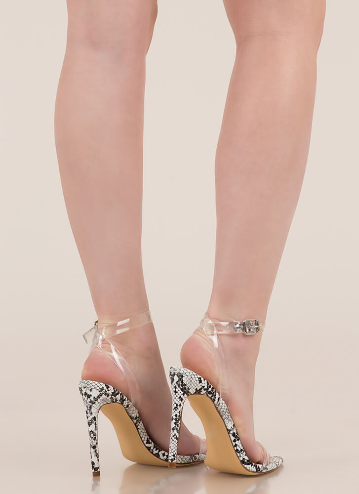 Simple Silhouette PVC Strap Heels WHITE