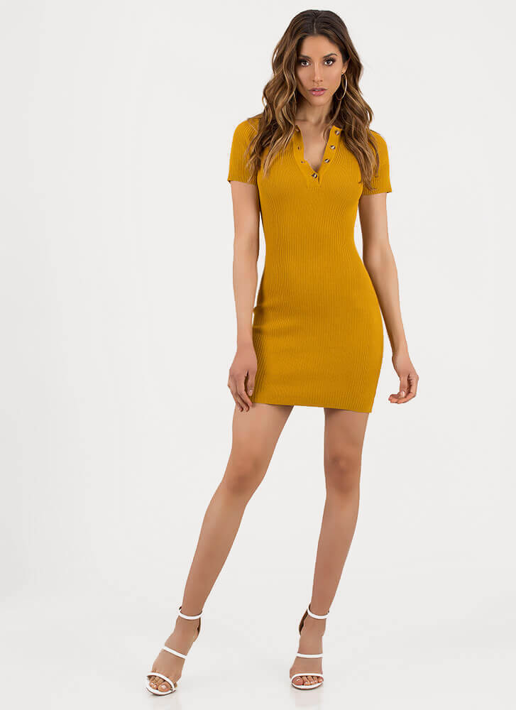 Collar Me Mine Ribbed Button-Up Dress MUSTARD