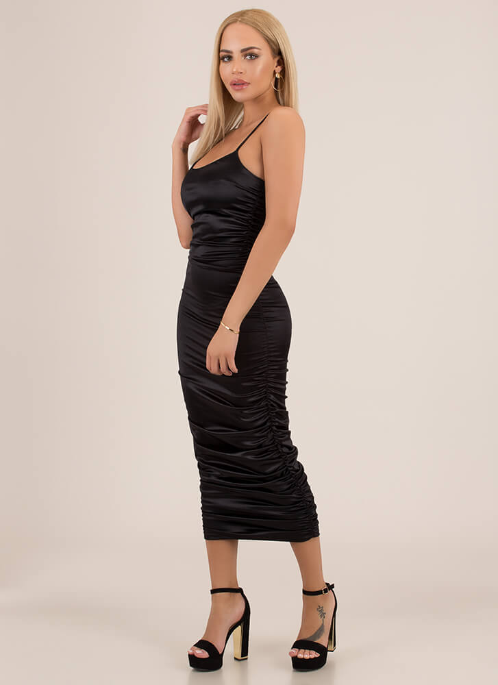 Slinky Promise Ruched Satin Midi Dress BLACK