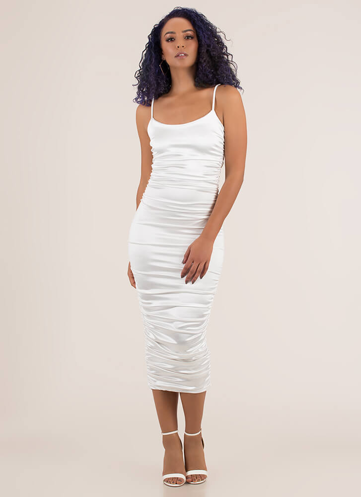 Slinky Promise Ruched Satin Midi Dress WHITE