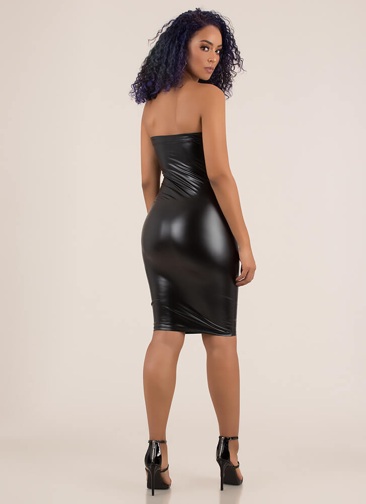 Smooth Sailing Faux Leather Tube Dress BLACK