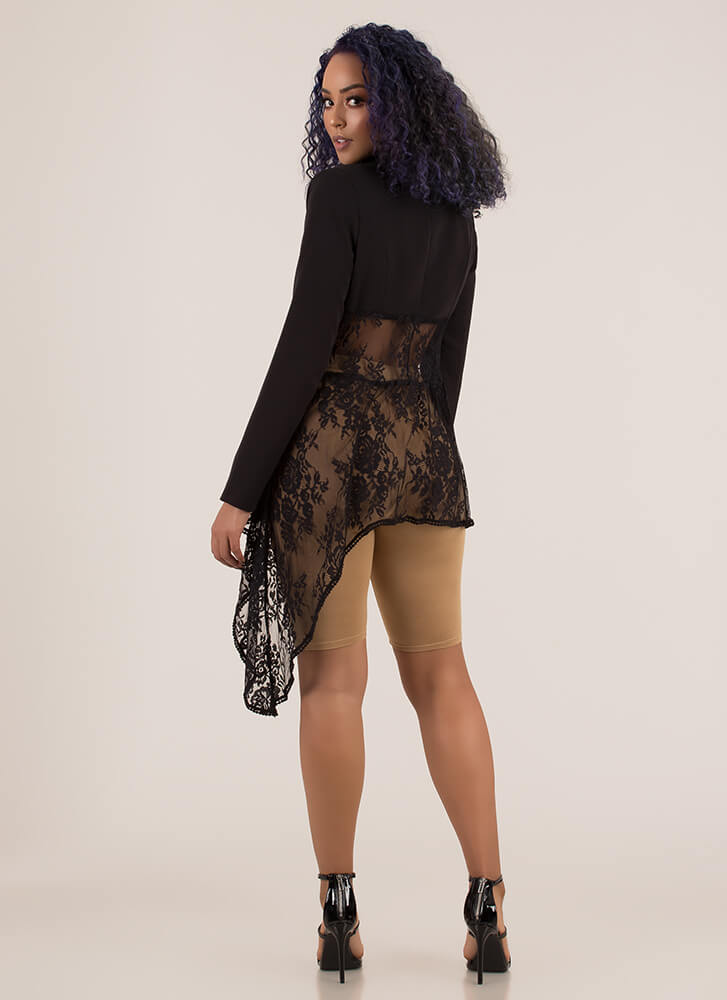 Girl On Top High-Low Floral Lace Blazer BLACK