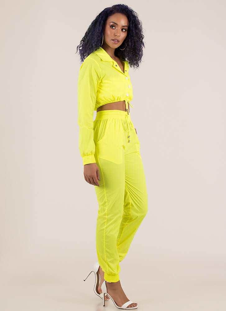 Cool Running Nylon Jacket And Jogger Set NEONYELLOW