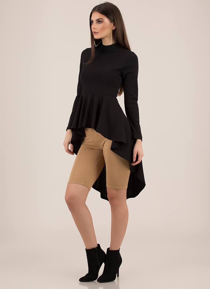 Do It Right High-Low Peplum Top BLACK