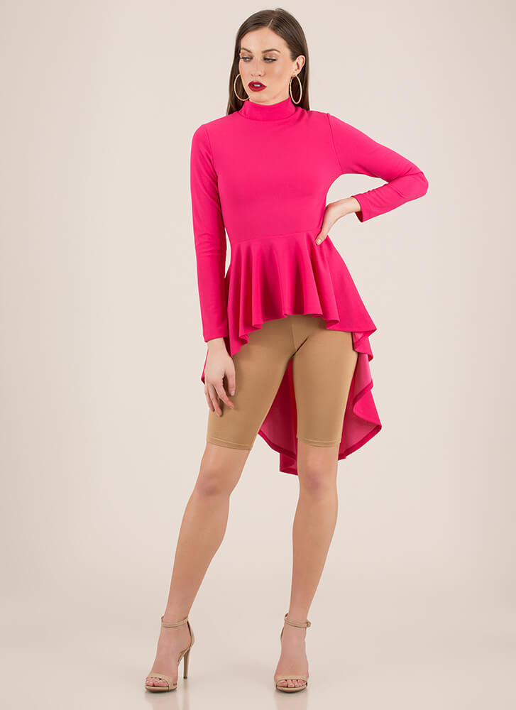 Do It Right High-Low Peplum Top FUCHSIA