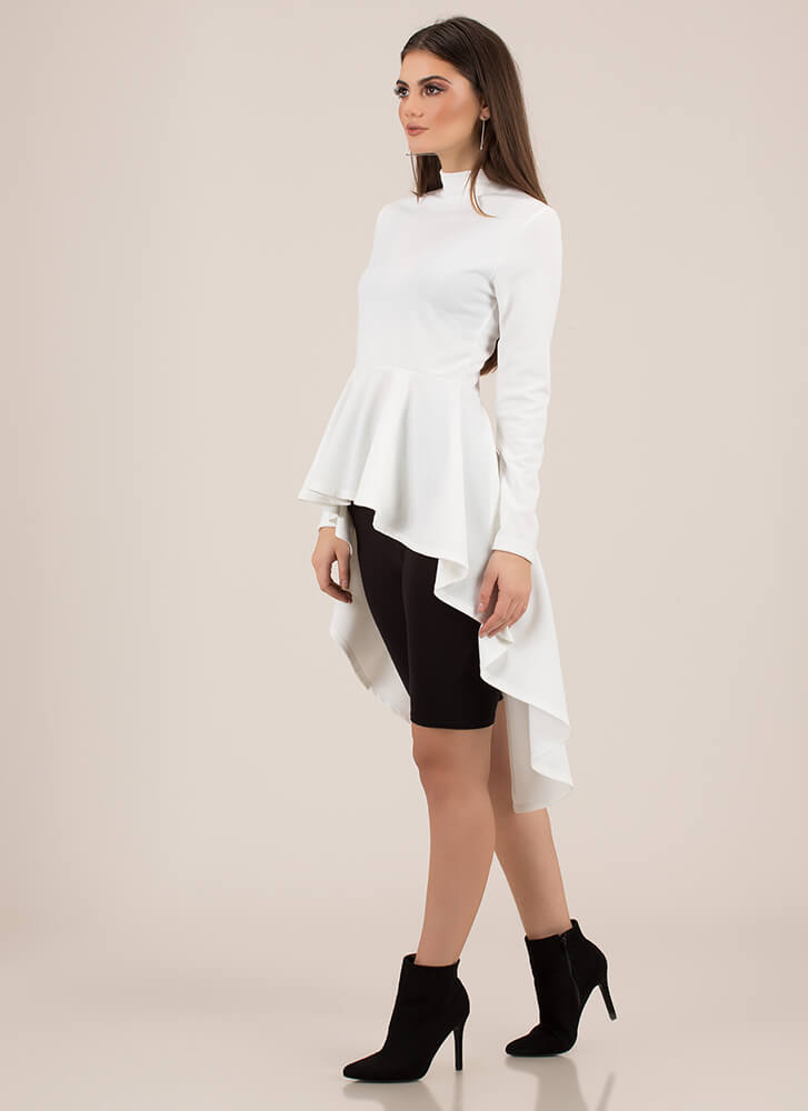 Do It Right High-Low Peplum Top WHITE
