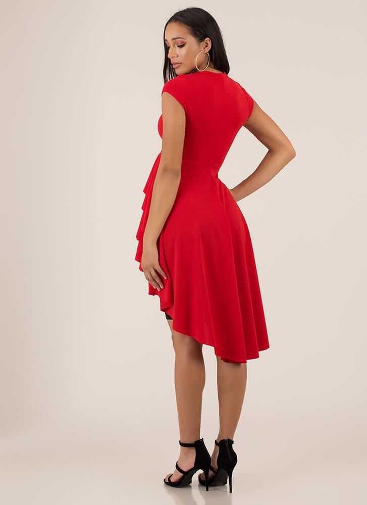 Cascading Waterfall Ruffled High-Low Top RED