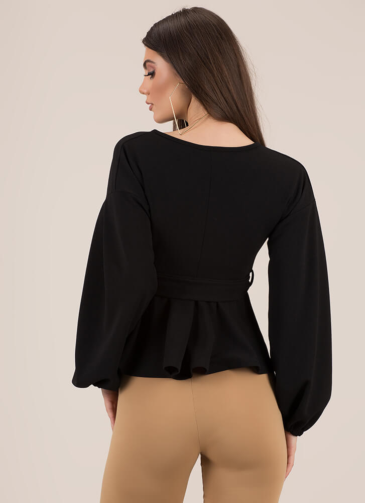 Just Lovely Tied Puffy Sleeve Top BLACK