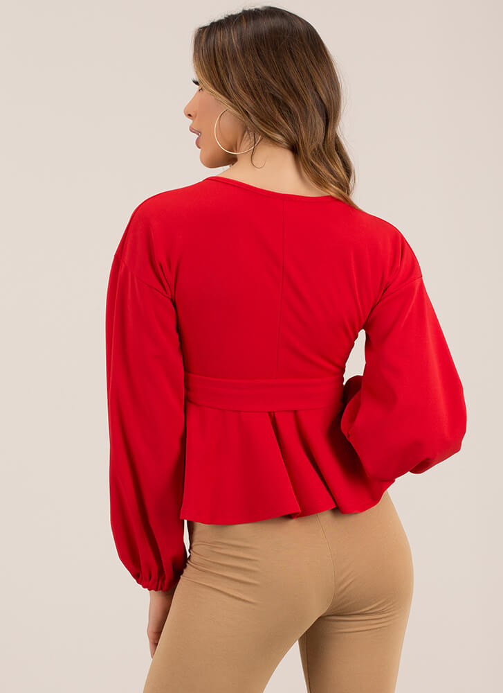 Just Lovely Tied Puffy Sleeve Top RED