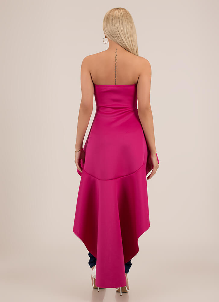 Go With The Flow Strapless High-Low Top MAGENTA