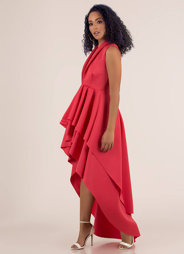 Dramatic Flare High-Low Scuba Dress CORAL