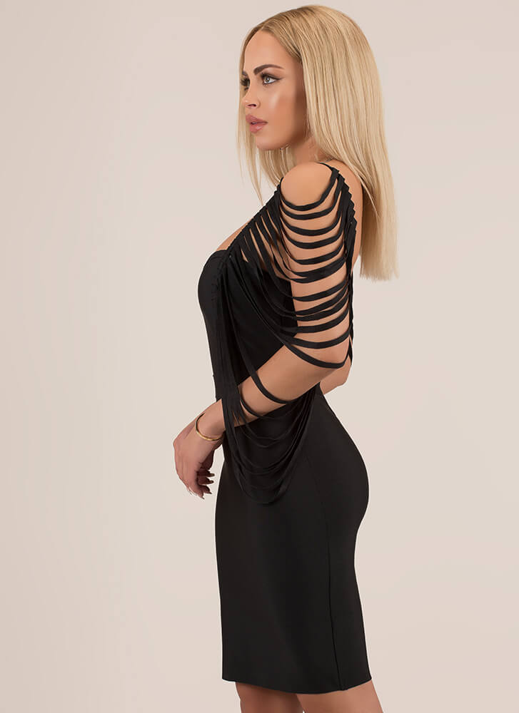 Curtain Call Strappy Bandage Dress BLACK