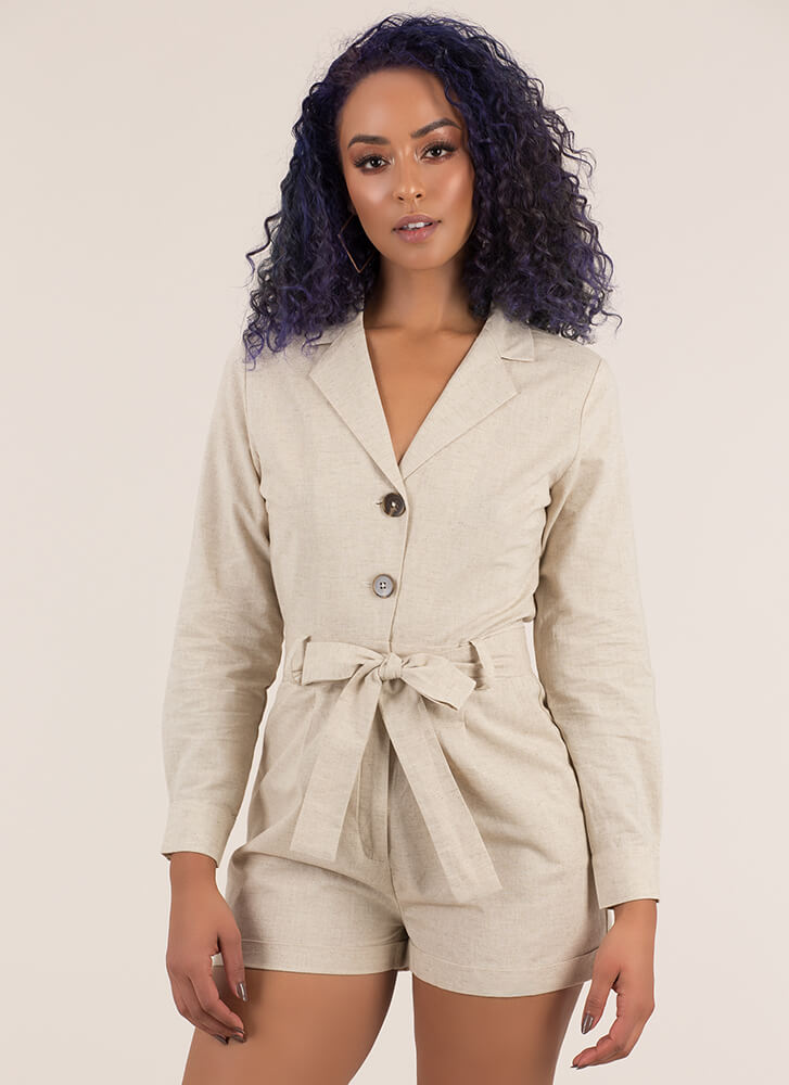 All Buttoned Up Tie-Front Romper KHAKI (Final Sale)