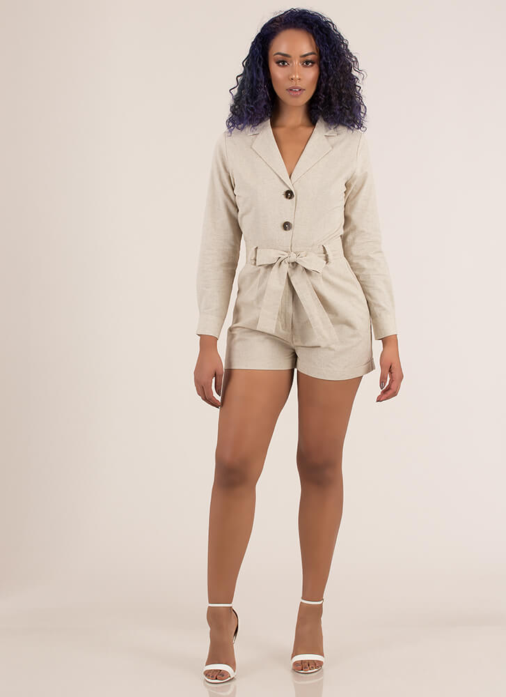 All Buttoned Up Tie-Front Romper KHAKI