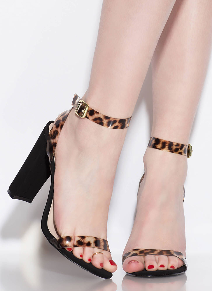 Cool Touch PVC Strap Chunky Heels CAMELLEOPARD
