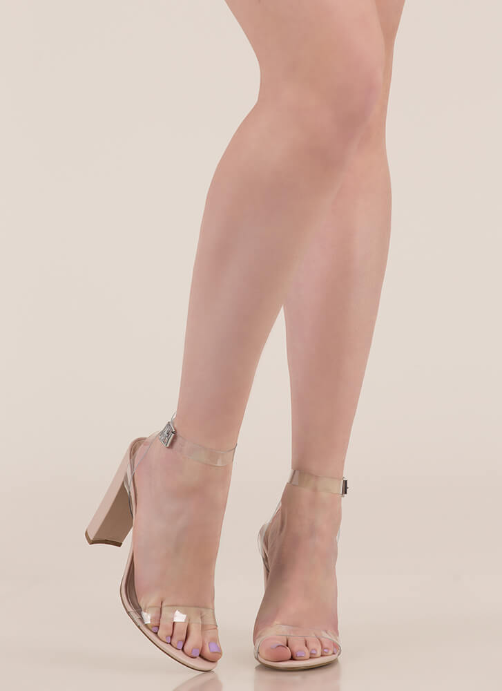 Cool Touch PVC Strap Chunky Heels CLEAR