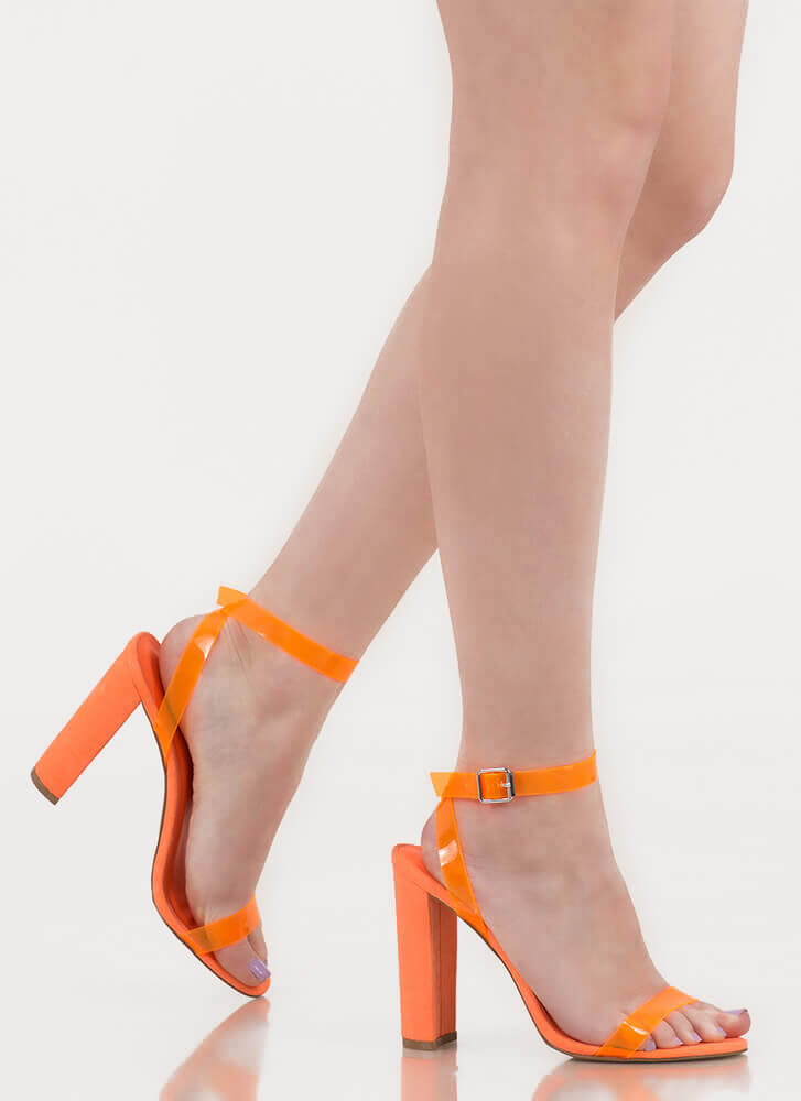 Cool Touch PVC Strap Chunky Heels NEONORANGE