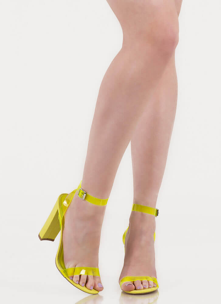 Cool Touch PVC Strap Chunky Heels NEONYELLOW